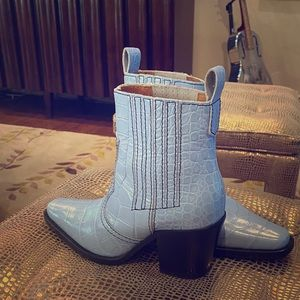 Gianni light blue mic croc western boots